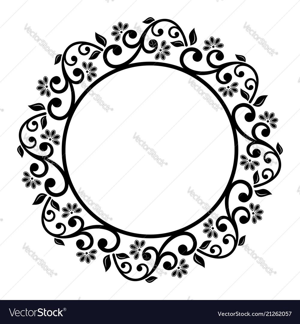 Floral modern round frame.