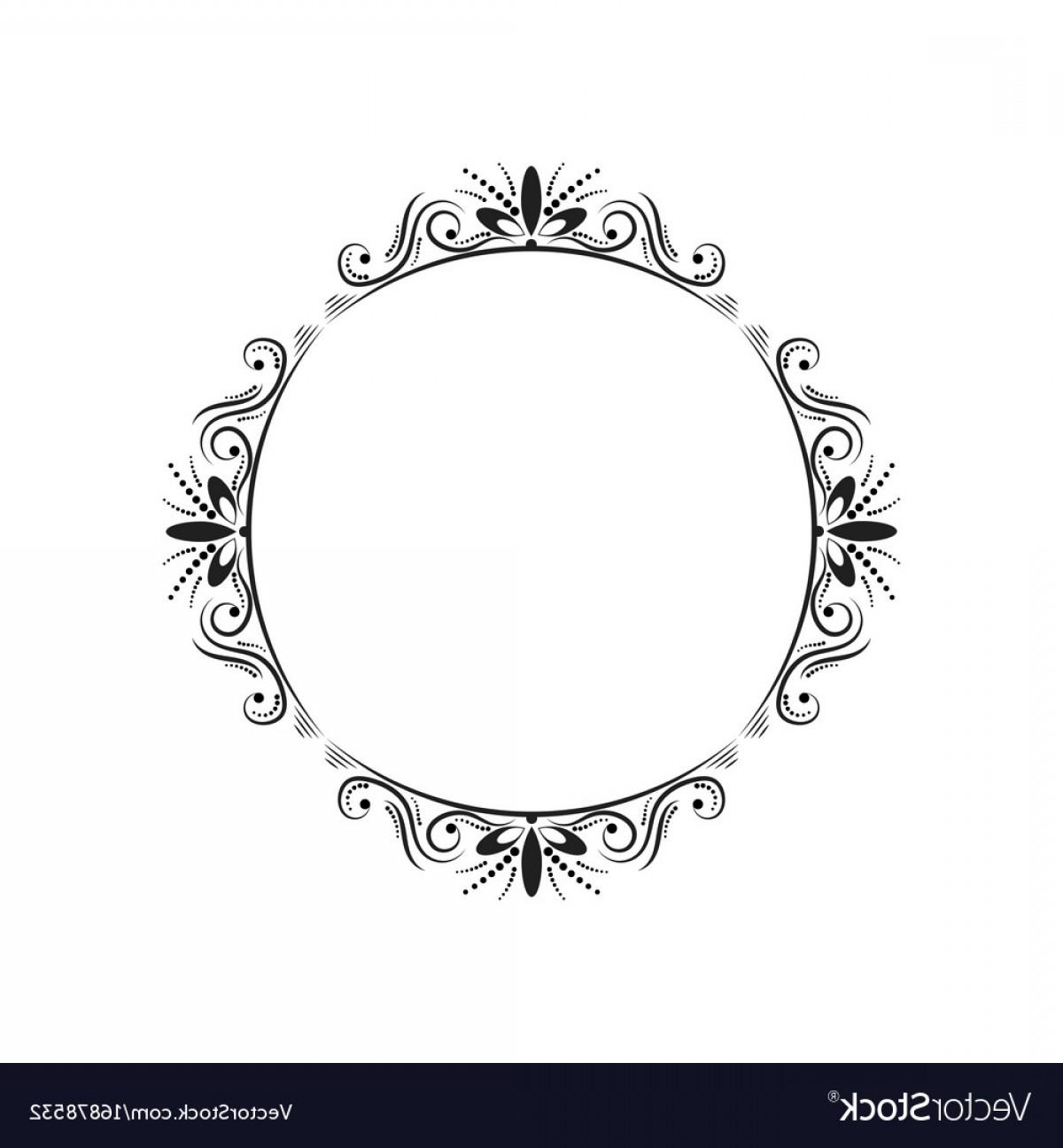 Round Elegant Vintage Frame Vector.