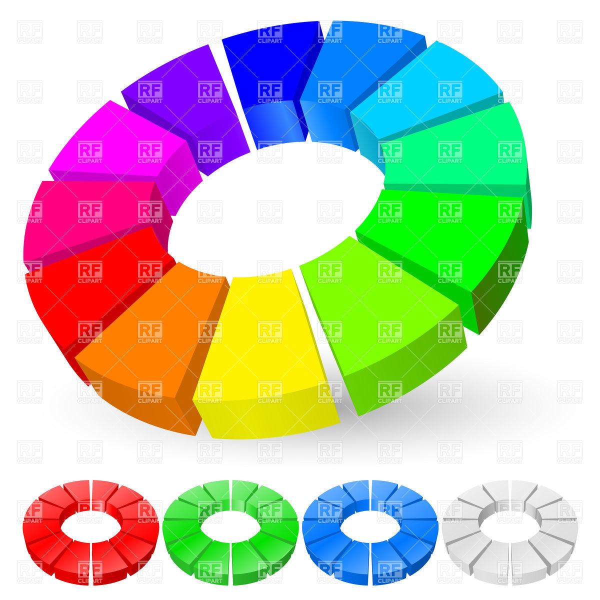 3D rainbow pie chart Stock Vector Image.