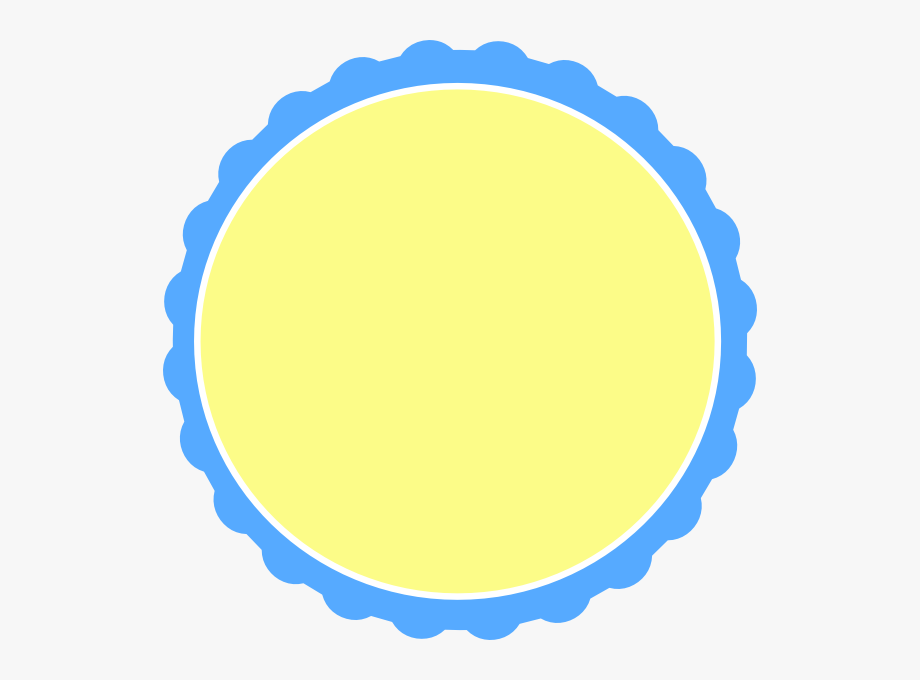 Light Blue & Pale Yellow Scallop Circle Frame Svg Clip.