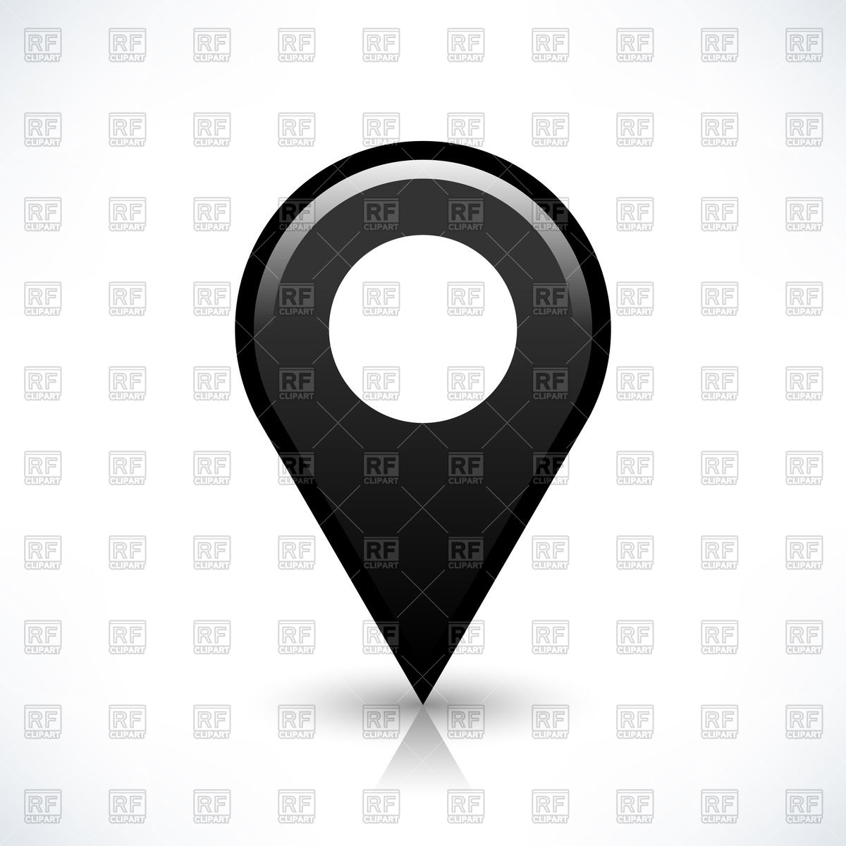 Simple dark grey map pin with white circle in centre Vector Image.