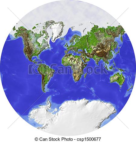 Stock Illustrations of World map in a circle.