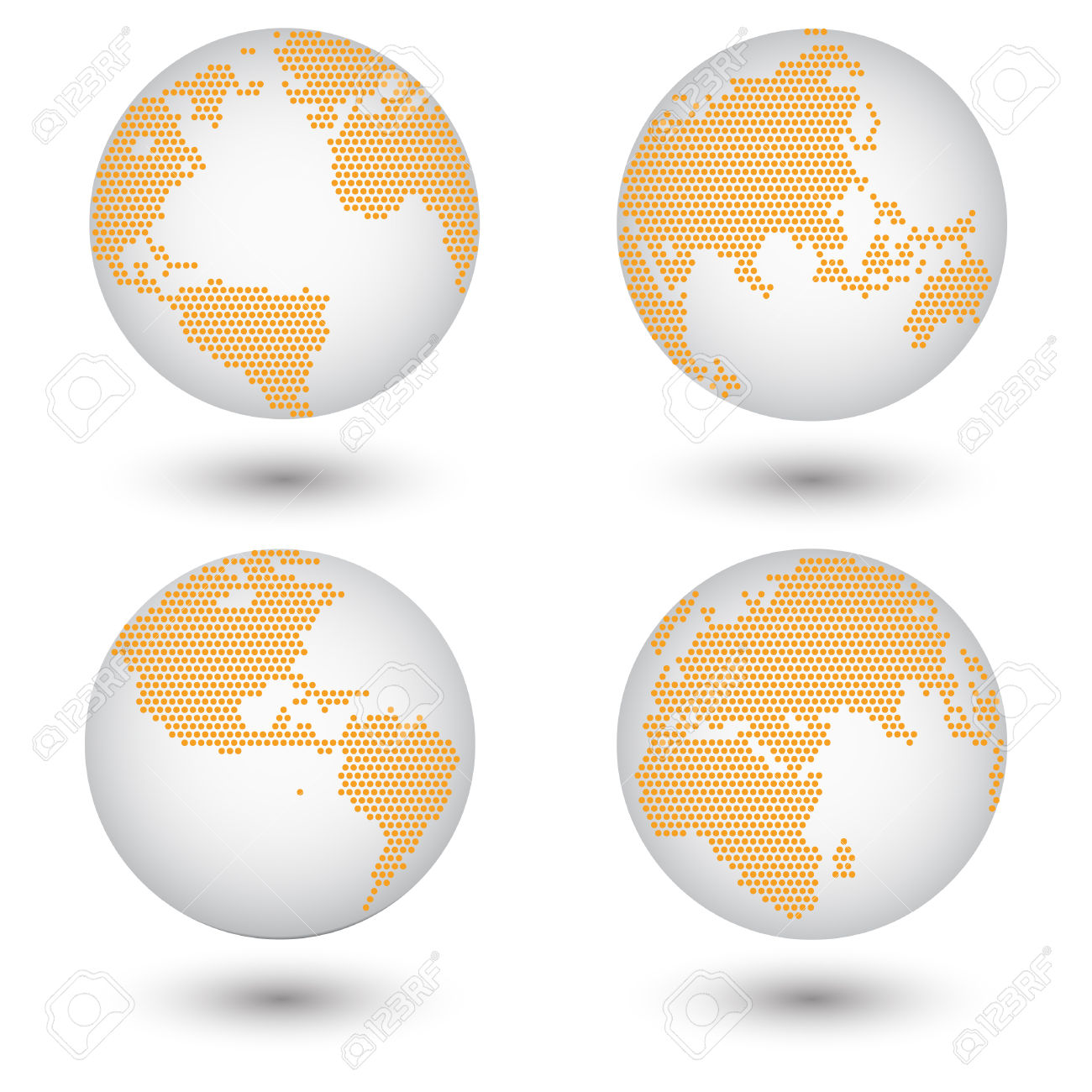 Dotted World Map Globe Made Of Circle Shapes Vector Illustration.