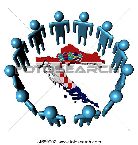 Clip Art of Circle of people around Croatia map flag k4689902.