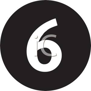 Black Number 6 Clipart.