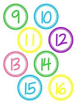 CIRCLE NUMBERS IN FUN COLORS 1.