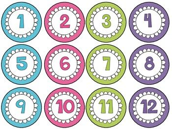 Numbers in circles clipart.