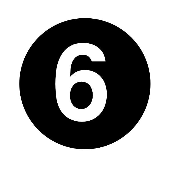 Black And White Number 6 Clipart.