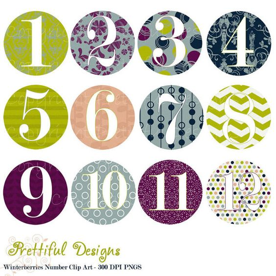 Circle Number Clip Art for Scrapbooking, Invitations, Paper Goods.