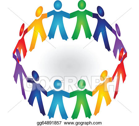 People Holding Hands In A Circle Clipart.