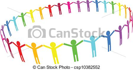 Clipart Vector of people in circle.