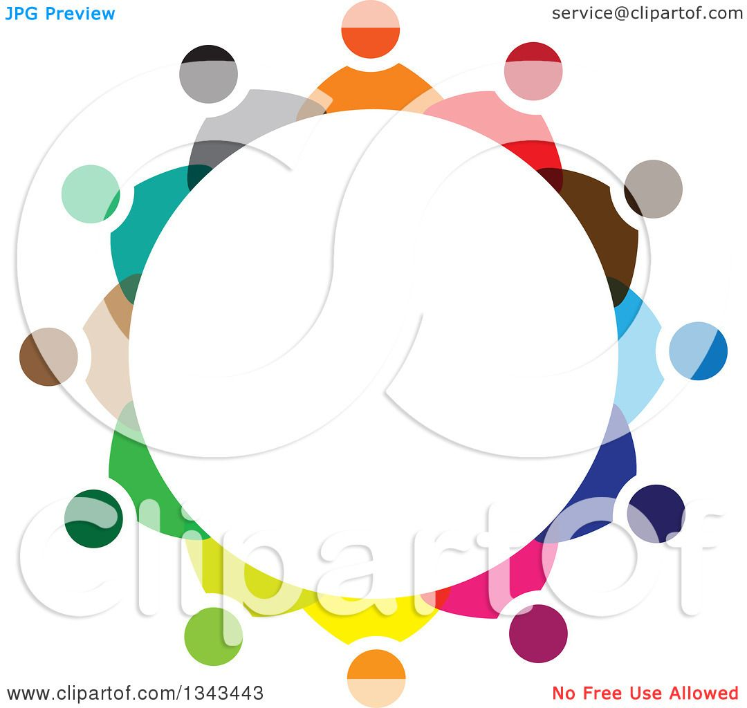 Clipart of a Circle of Colorful Diverse People 2.