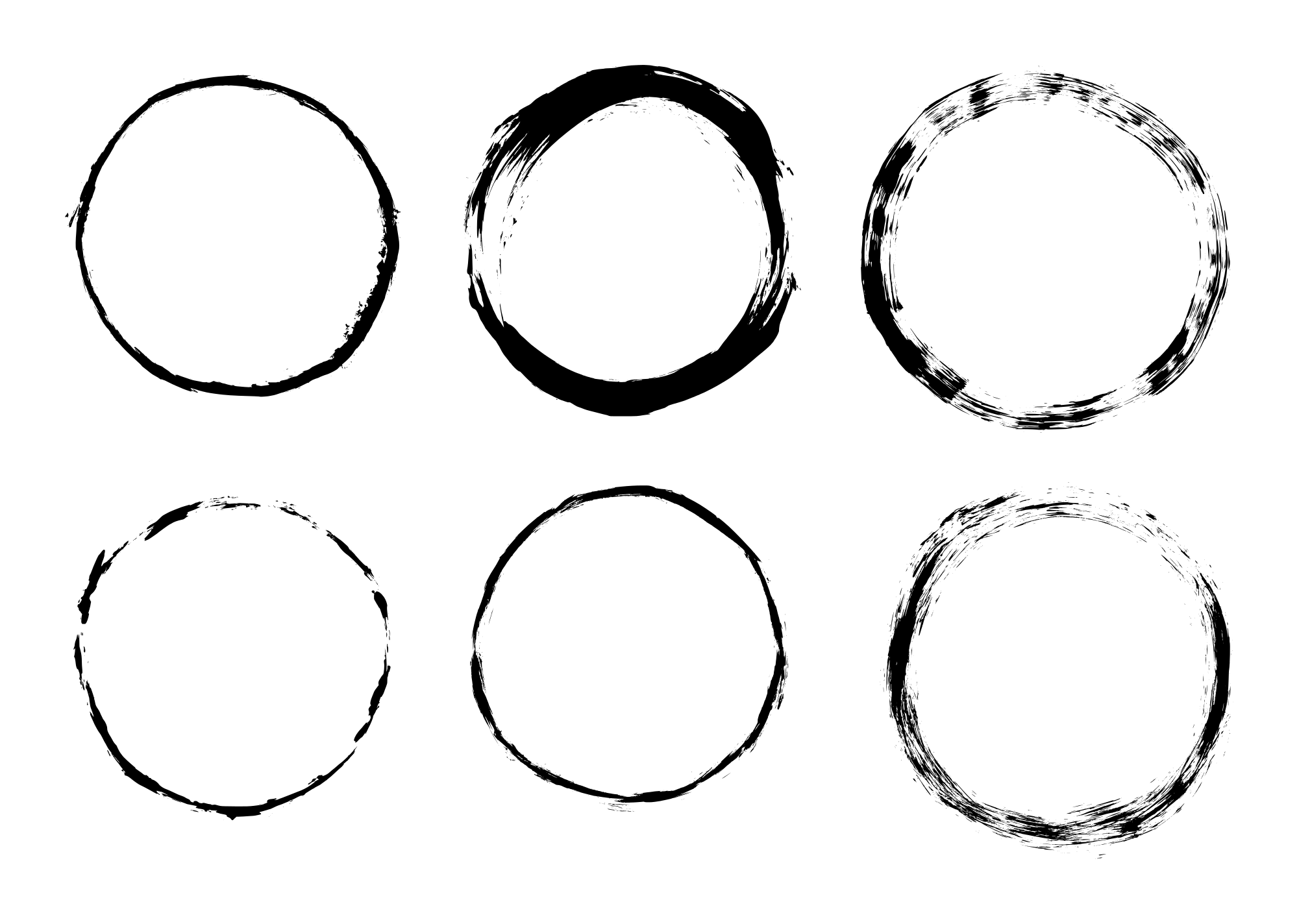 6 Grunge Circle Frame (PNG Transparent).
