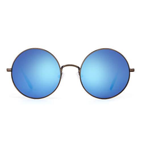 Retro Round Flash Sunglasses Reflective Circle Lens Alloy Eyeglasses Men  Women.