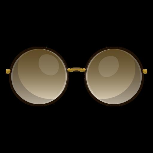 Brown round sunglasses.