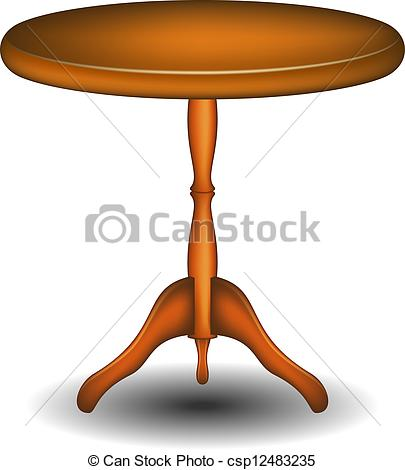 Wooden round table.