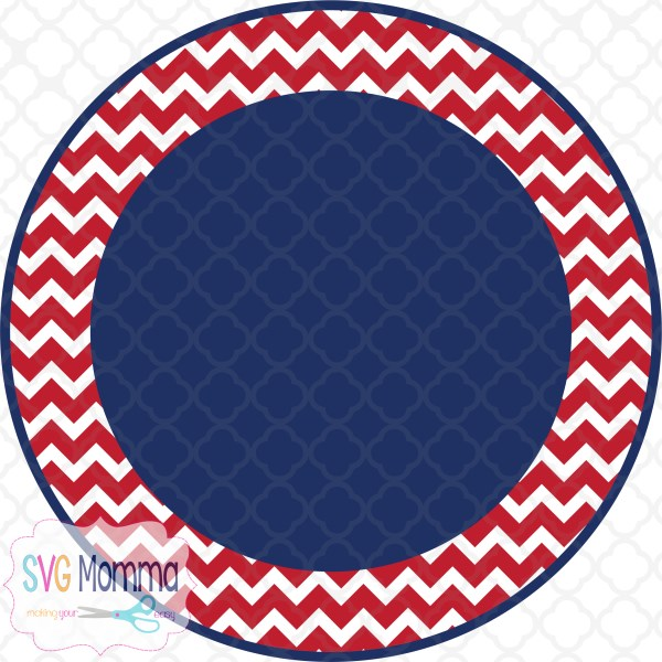 Red and Blue Chevron Circle Print and Cut Design.