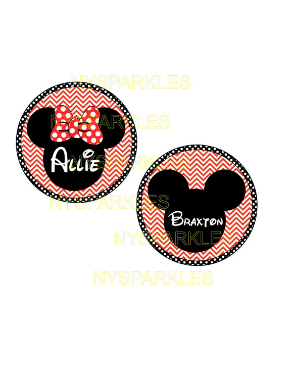 Items similar to Minnie Disney Personalized Red Chevron Print.