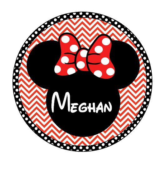 Minnie Disney Personalized Red Chevron Print Circle With Name For.