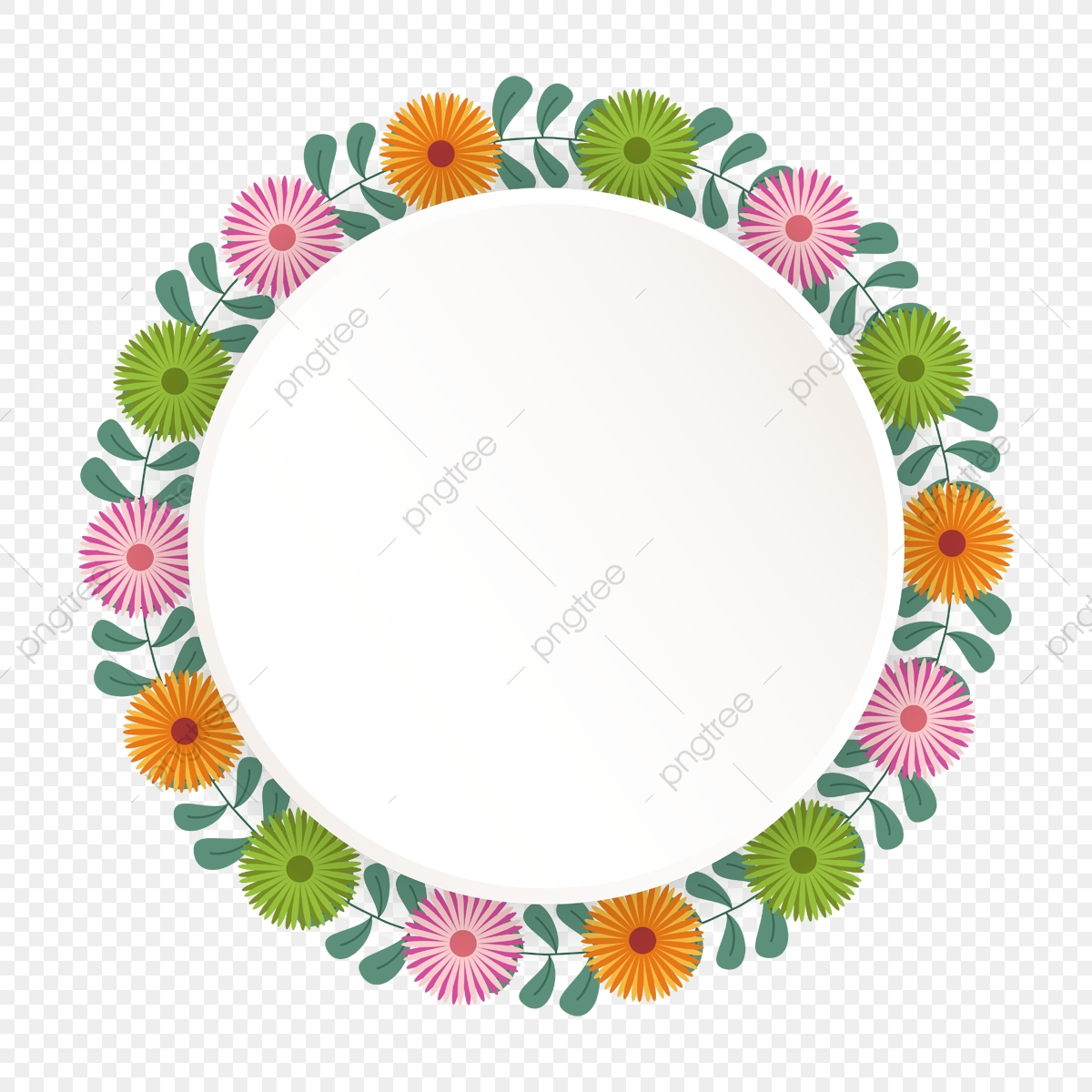 Beautiful Flower Circle Wreath, Flower Vector, Png, Flower PNG and.