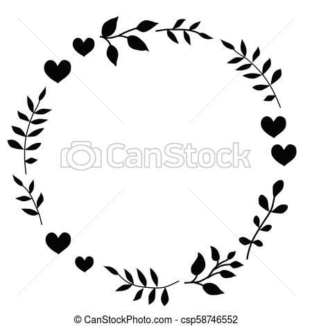 Doodle monochrome heart and leaf circle frame on a black background. Wreath  of leaves. Ready template for design, postcards, printing..