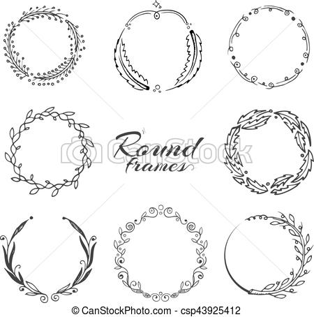 Branch with leaves, laurel wreath, floral circle frames for decoration.  hand drawn vector collection.