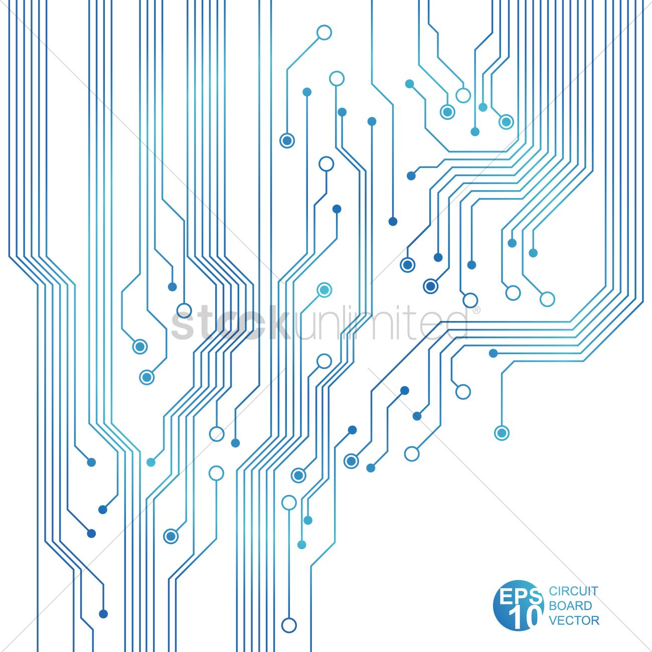 Blue circuit board Vector Image.