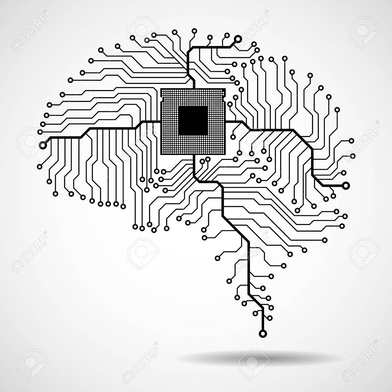 Abstract technological brain. Cpu. Circuit board. Vector.