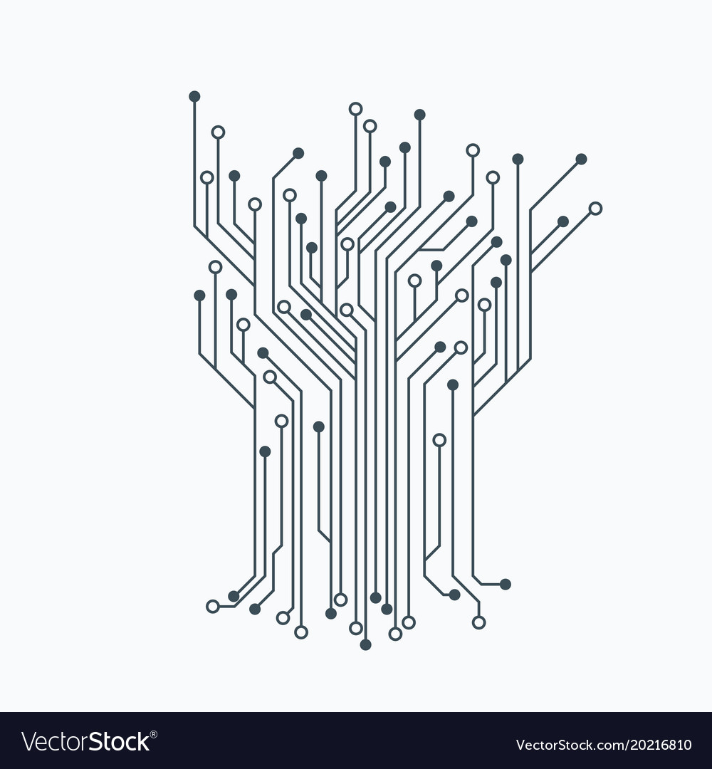 Microelectronics circuits circuit board vector image.