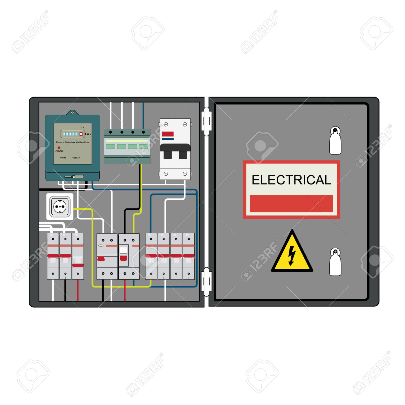 Picture Of The Electrical Panel, Electric Meter And Circuit.