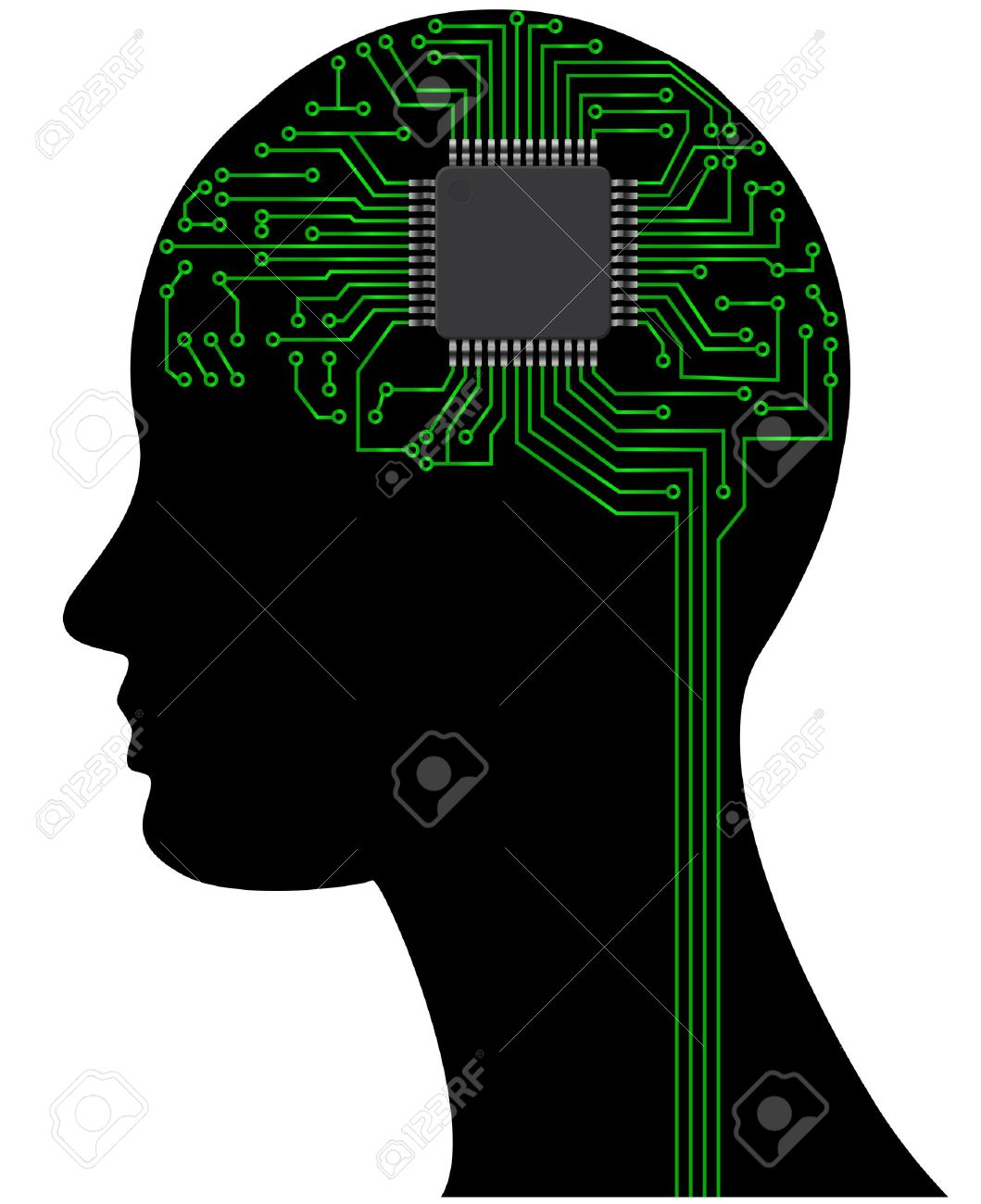 Illustration Of Head With Microchip And Circuit Royalty Free.