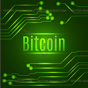 Green bitcoin digital currency concept on circuit.
