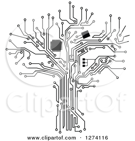 Clipart of a Grayscale Computer Chip and Circuit Tree 2.