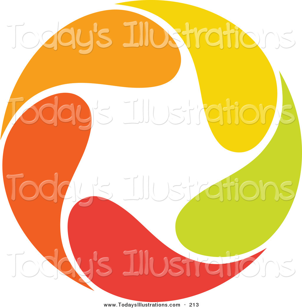 Clipart of an Abstract Orange, Green, Red and Yellow Circular Star.