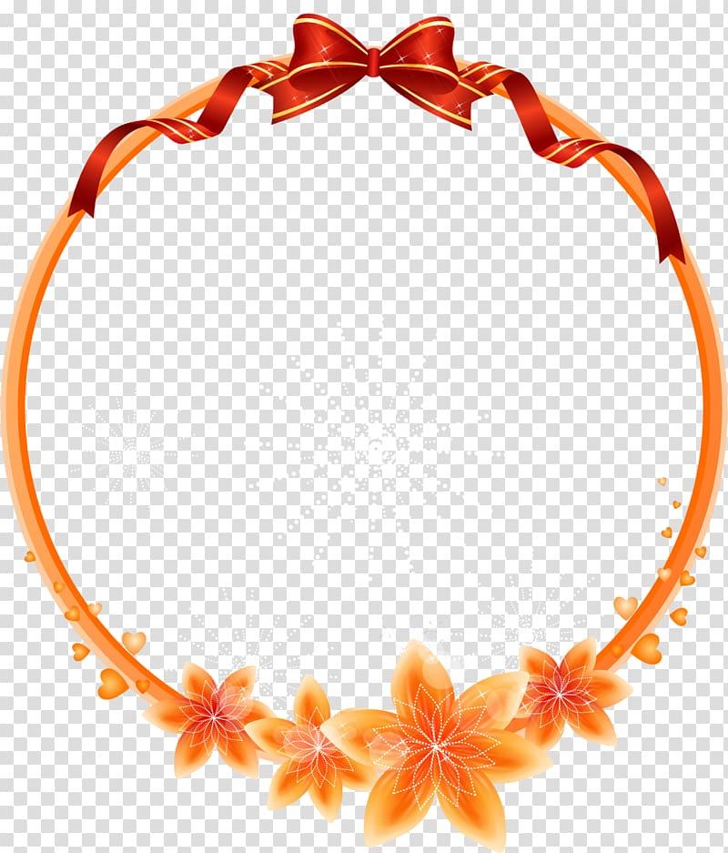 Round orange flowers frame , frame Flower , Cartoon beautiful.