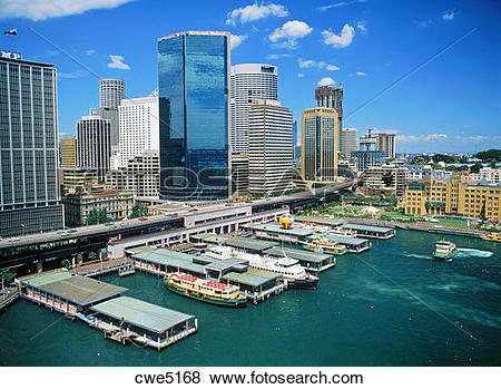 Pictures of Waterfront skyline and boat traffic at Circular Quay.