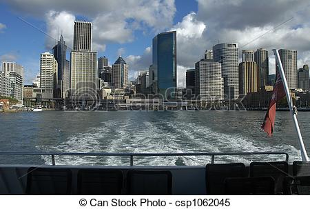 Stock Images of Circular Quay in Sydney, photo taken from ferry.