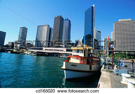 Stock Photography of Ferry at Circular Quay with Central Business.