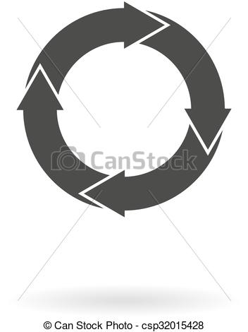 Vector Illustration of Dark grey icon with 4 white circular arrows.