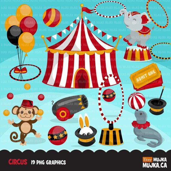 Circus Clipart Big top carnival graphics red and black, amusement.