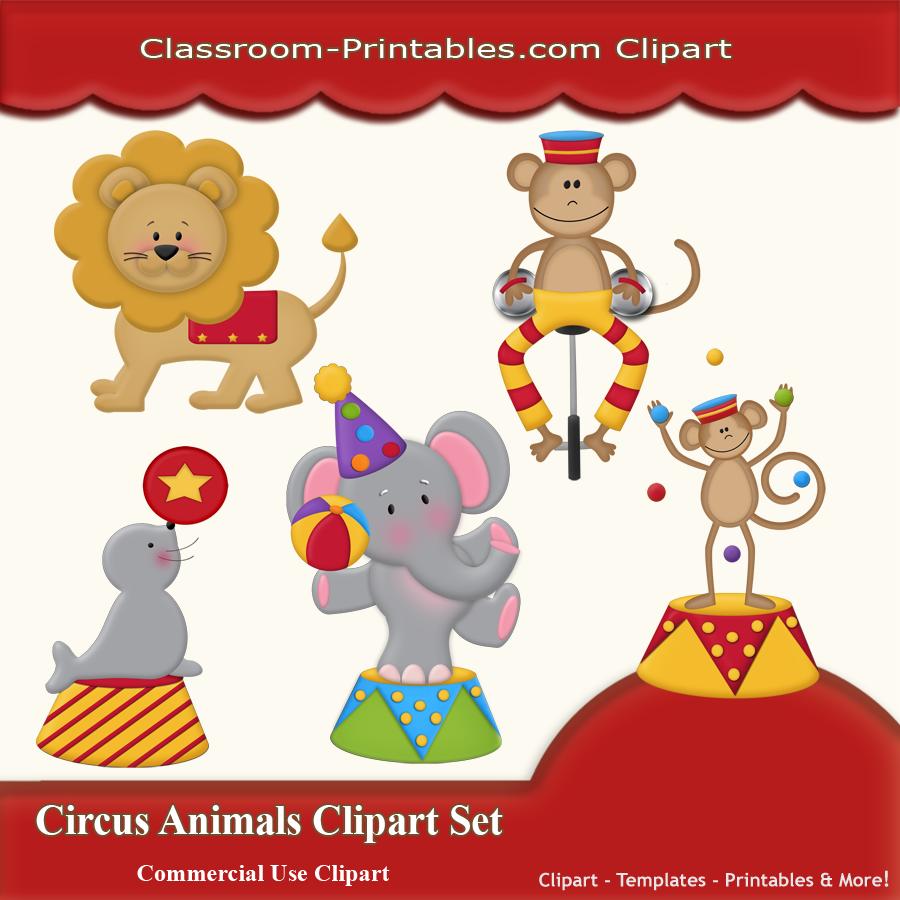 Circus Animals Clipart Set.