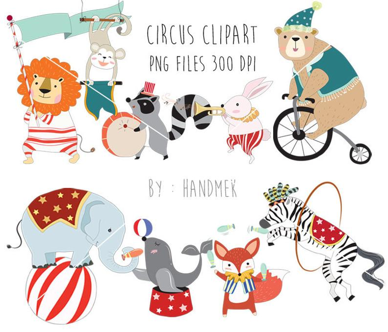 Circus Animals clipart , cute circus PNG file.