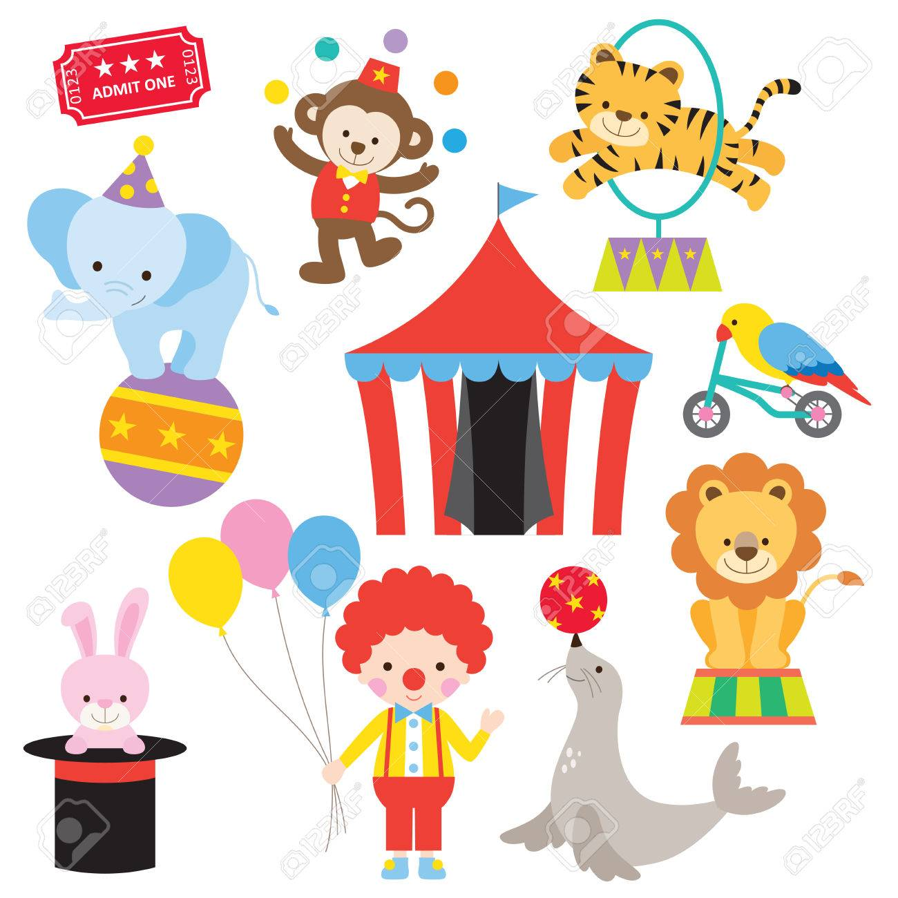 Vector illustration of cute and colorful circus animals..