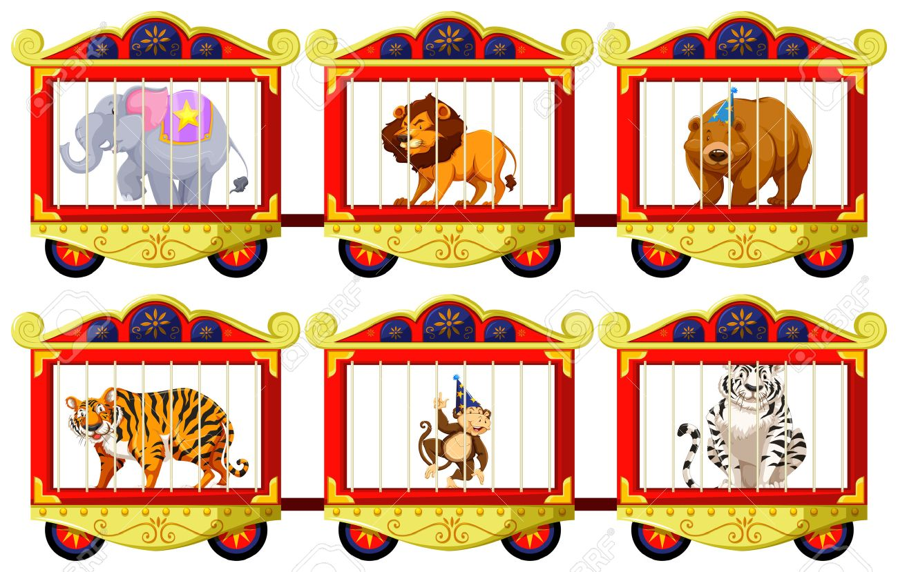 Wild animals in the circus cages illustration.