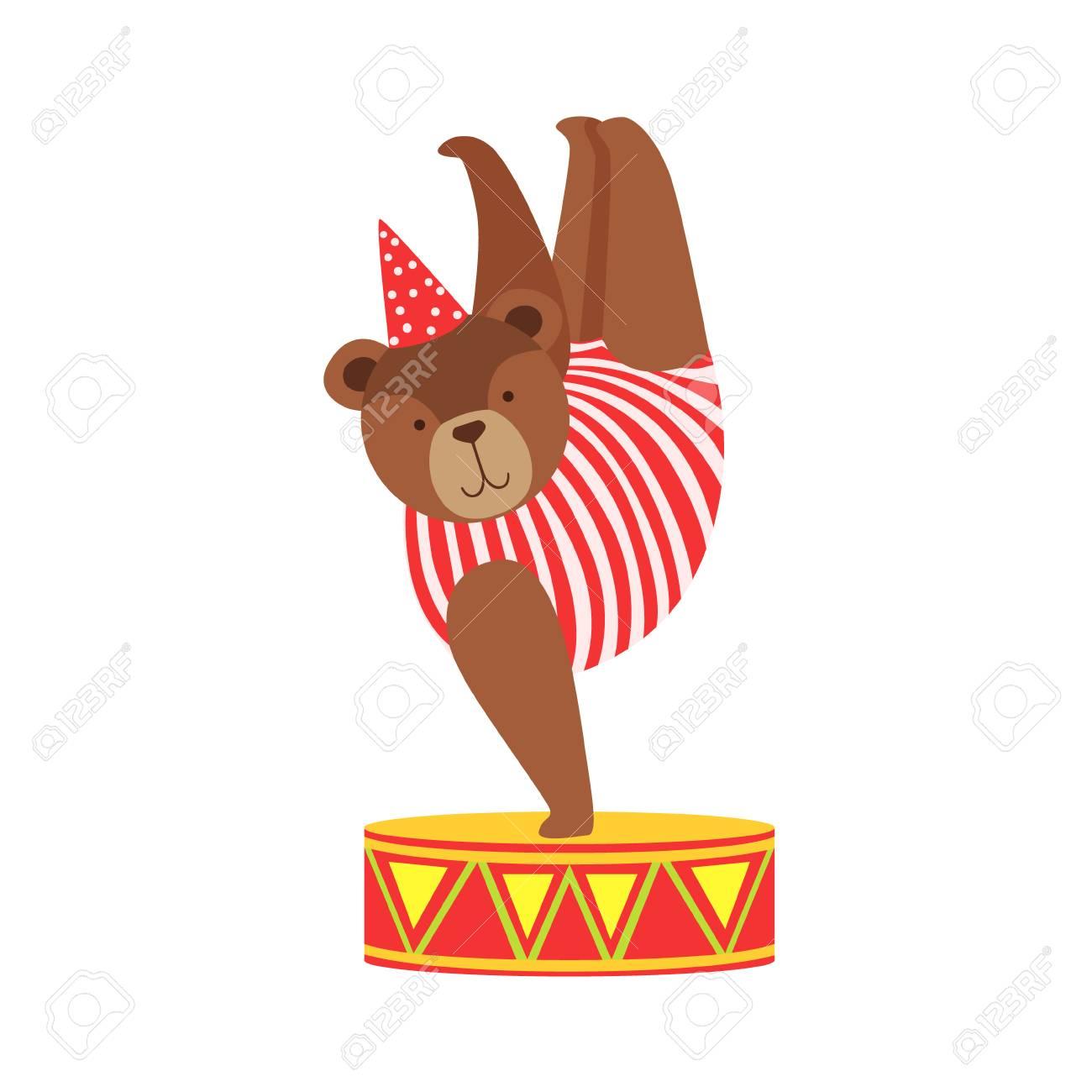 Circus Bear Animal Artist In Stripy Body Suit Performing Acrobatic...