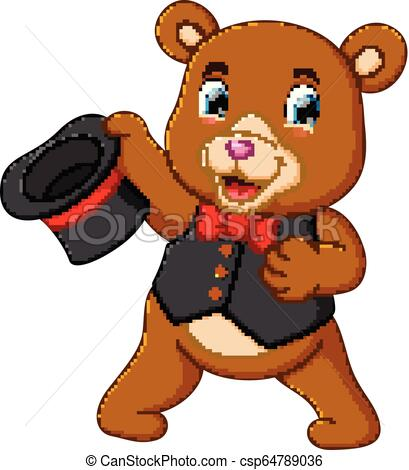 a big circus bear uses the best costume and holding his hat.