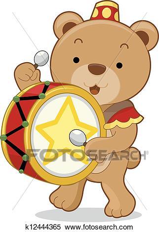 Circus Bear Drummer Clipart.