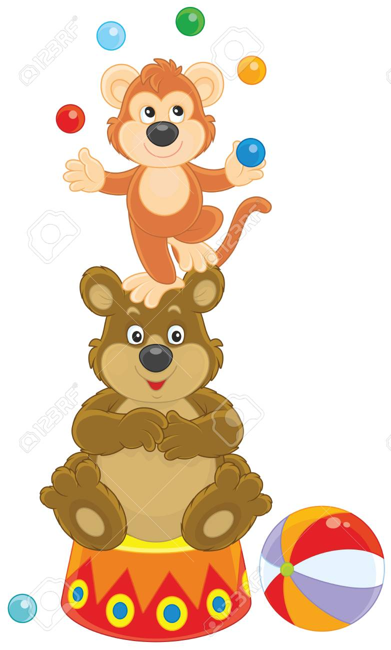 Circus bear and monkey juggling with color balls..