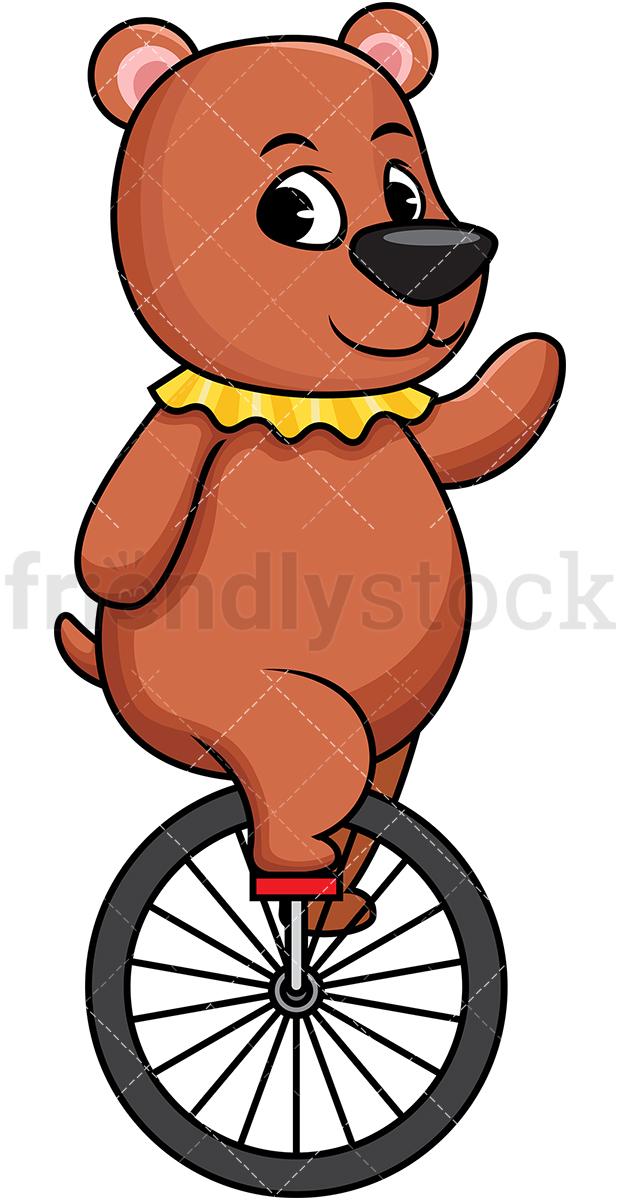 Circus Bear On Unicycle.