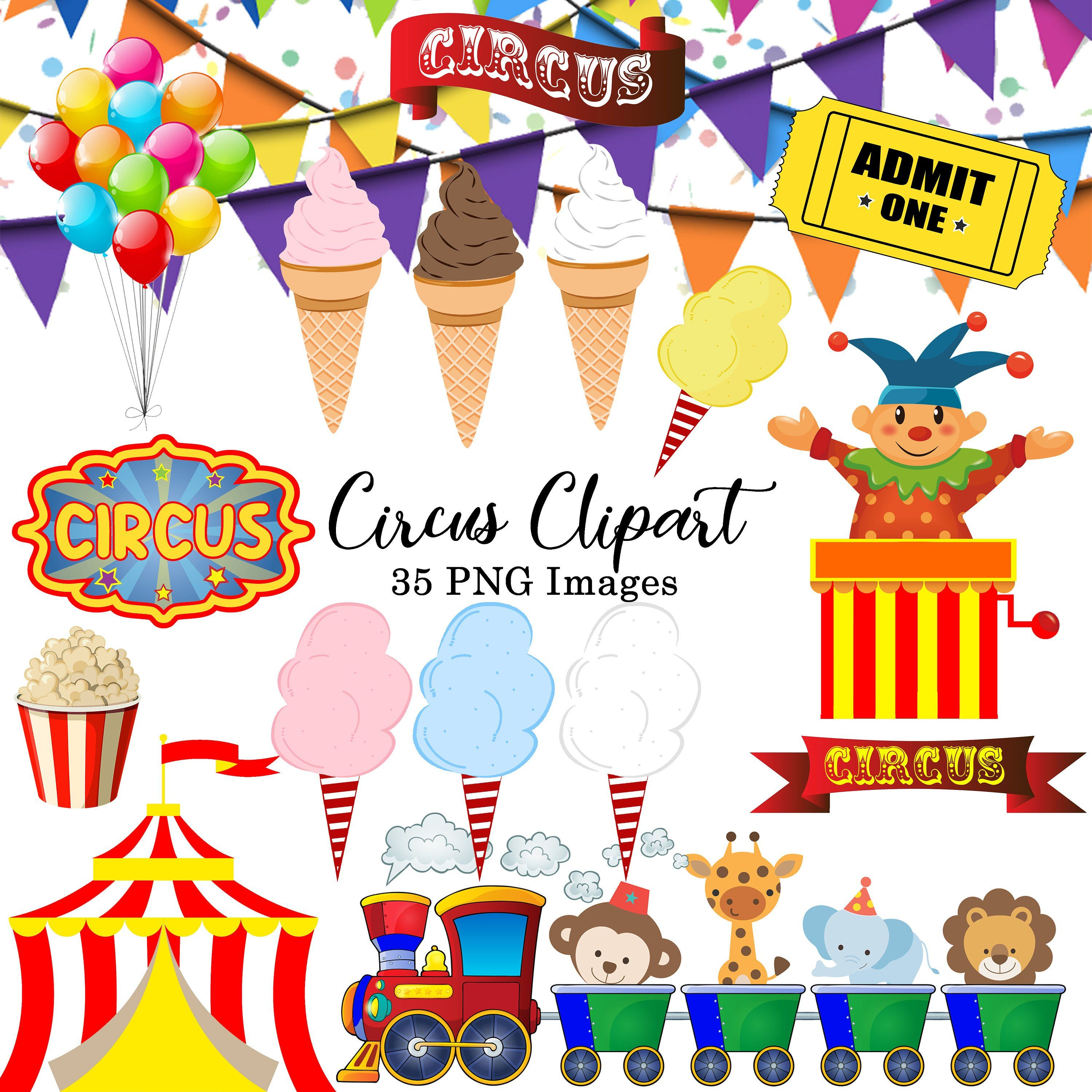 Circus Carnival Digital clipart INSTANT DOWNLOAD Animal.